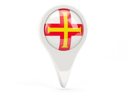 Round flag icon of guernsey isolated on white photo