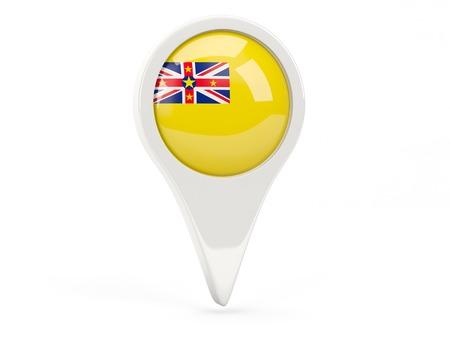 niue: Round flag icon of niue isolated on white