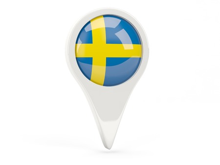 Round flag icon of sweden isolated on white photo
