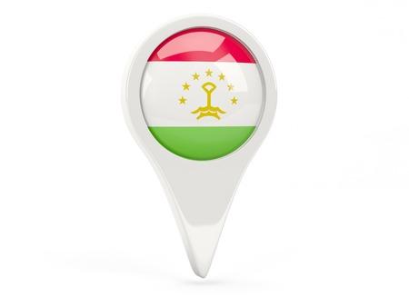Round flag icon of tajikistan isolated on white photo