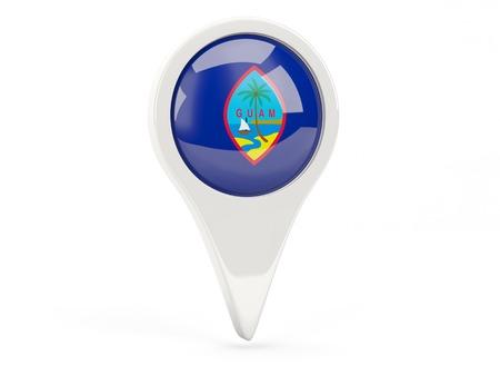 guam: Round flag icon of guam isolated on white