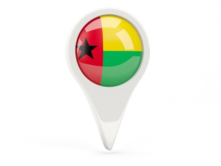 guinea bissau: Round flag icon of guinea bissau isolated on white