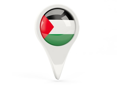 palestinian: Round flag icon of palestinian territory isolated on white