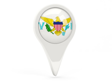 Round flag icon of virgin islands us isolated on white photo