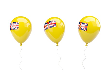 niue: Air balloons with flag of niue isolated on white