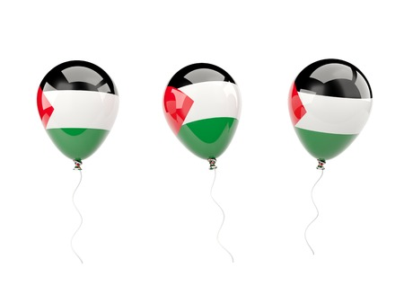 palestinian: Air balloons with flag of palestinian territory isolated on white