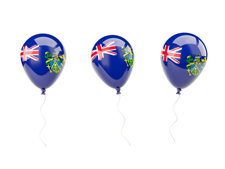 pitcairn: Air balloons with flag of pitcairn islands isolated on white