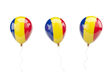 Air balloons with flag of romania isolated on white photo