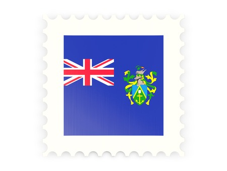 pitcairn: Postage stamp icon of pitcairn islands isolated on white Stock Photo