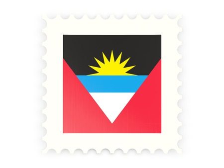 Postage stamp icon of antigua and barbuda isolated on white photo