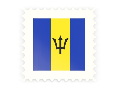 Postage stamp icon of barbados isolated on white photo