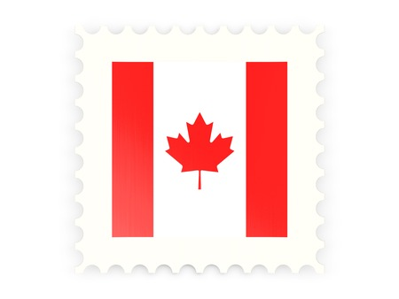 canada stamp: Postage stamp icon of canada isolated on white Stock Photo