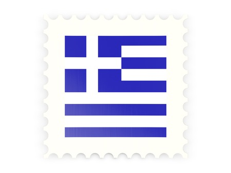 greece stamp: Postage stamp icon of greece isolated on white