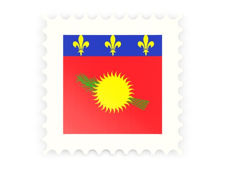 guadeloupe: Postage stamp icon of guadeloupe isolated on white Stock Photo