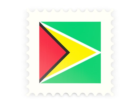 guyana: Postage stamp icon of guyana isolated on white