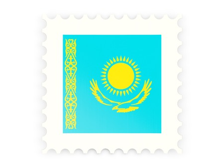 Postage stamp icon of kazakhstan isolated on white photo