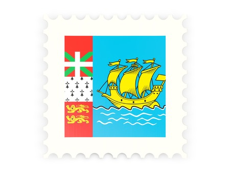 Postage stamp icon of saint pierre and miquelon isolated on white photo