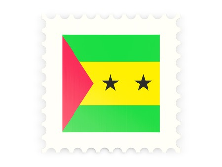 Postage stamp icon of sao tome and principe isolated on white photo