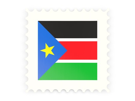 south sudan: Postage stamp icon of south sudan isolated on white Stock Photo