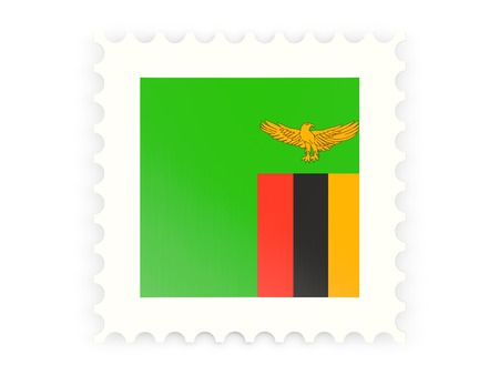 Postage stamp icon of zambia isolated on white photo