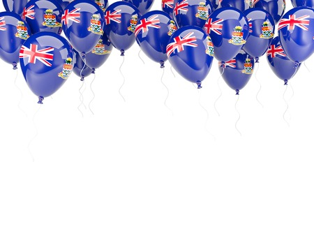 Balloon frame with flag of cayman islands isolated on white photo
