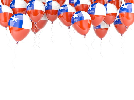 Balloon frame with flag of chile isolated on white