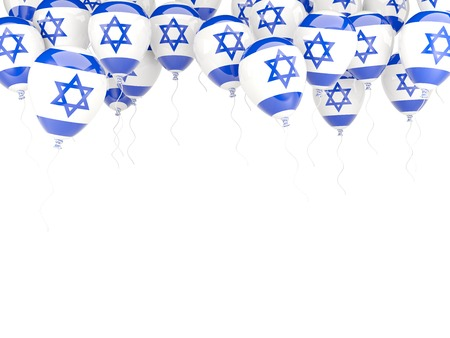 Balloon frame with flag of israel isolated on white