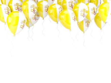 ciudad del vaticano: Marco del globo con la bandera de la ciudad del vaticano aislado en blanco