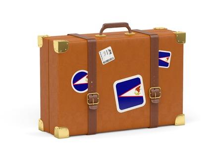 samoa: Travel suitcase with flag of american samoa isolated on white Stock Photo
