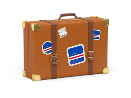 cape verde: Travel suitcase with flag of cape verde isolated on white Stock Photo