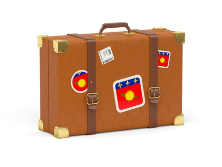 guadeloupe: Travel suitcase with flag of guadeloupe isolated on white