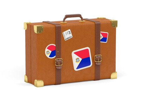 sint: Travel suitcase with flag of sint maarten isolated on white Stock Photo