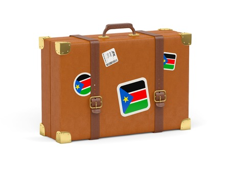 south sudan: Travel suitcase with flag of south sudan isolated on white
