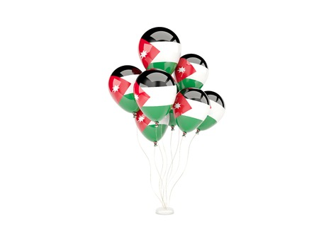 Flying balloons with flag of jordan isolated on white photo