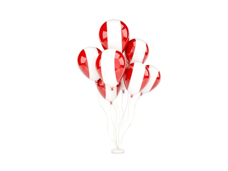 Flying balloons with flag of peru isolated on white photo