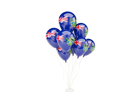 pitcairn: Flying balloons with flag of pitcairn islands isolated on white