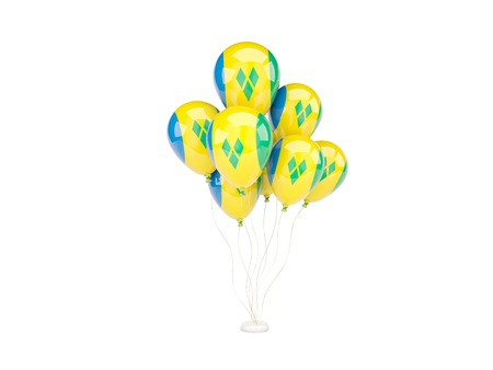 grenadines: Flying balloons with flag of saint vincent and the grenadines isolated on white