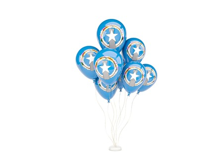 mariana: Flying balloons with flag of northern mariana islands isolated on white
