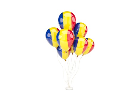 Flying balloons with flag of romania isolated on white photo