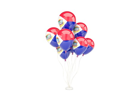 sint: Flying balloons with flag of sint maarten isolated on white