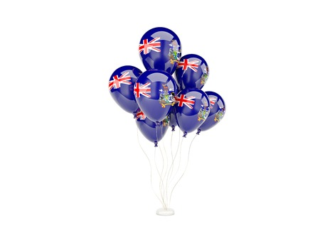 south georgia: Flying balloons with flag of south georgia isolated on white