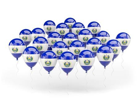 bandera de el salvador: Globos con la bandera de El Salvador aislados en blanco