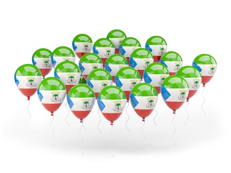equatorial guinea: Balloons with flag of equatorial guinea isolated on white Stock Photo