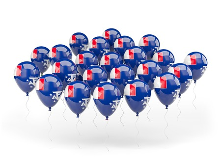 territories: Balloons with flag of french southern territories isolated on white Stock Photo