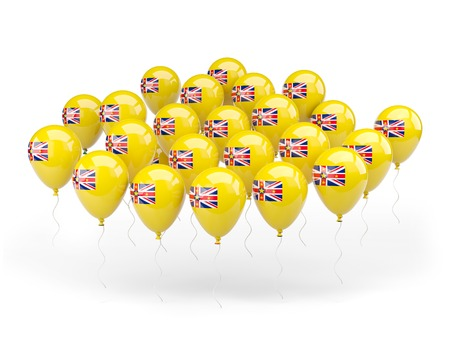 niue: Balloons with flag of niue isolated on white