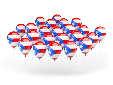 bandera de puerto rico: Globos con la bandera de Puerto Rico aislados en blanco Foto de archivo