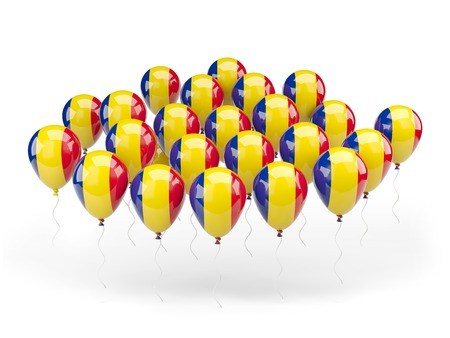Balloons with flag of romania isolated on white photo