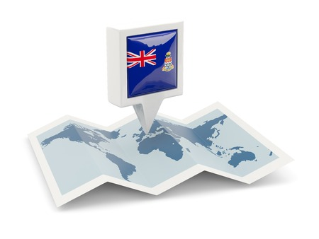 Square pin with flag of cayman islands on the map photo