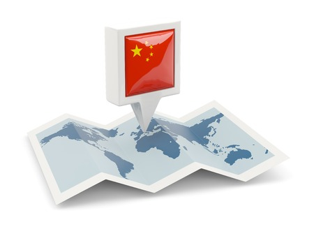 Square pin with flag of china on the map photo