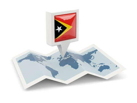 timor: Square pin with flag of east timor on the map Stock Photo